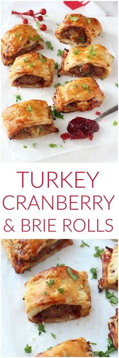 TURKEY, CRANBERRY & BRIE ROLLS | These mini pastry rolls will make a fantastic appetizer or party snack this Christmas! #recipes #delicious
