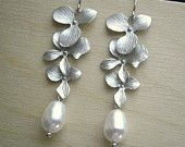 Pearl Earrings With Cascading Three Orchid Flowers And White Swarovski pearls