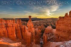 Bryce Canyon National Park Utah  Thors Hammer Sunrise 24x36 Giclee Gallery Print Wall Decor Travel Poster