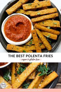 Baked Polenta, Polenta Fries, Polenta Appetizer, Appetizers, Veggie Recipes, Vegetarian Recipes, Cooking Recipes, Healthy Recipes, Vegan Polenta Recipes
