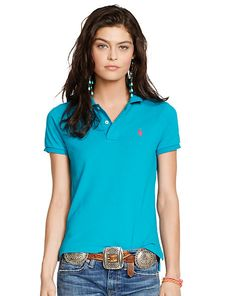 Skinny-Fit Polo Shirt - Polos   Tops - RalphLauren.com (in deep aqua, tropic royale, dark indigo, metro blue, and newport navy)