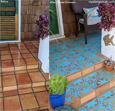 Porch Tile, Porch Paint, Porch Flooring, Diy Porch, Diy Patio, Patio Table, Stencil Concrete, Paint Concrete, Tile Stencils