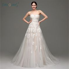 In Stock Champagne/White A-Line Wedding Dresses with Beaded Sashe Long Robe Mariage Romantic Lace Up Bride Gown Real Photo SWT24