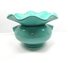 African Violet pot 1950s aqua color by Marcella wavy vintage african violet pot 1950s kitchen mid century home by MabelsParlor on Etsy