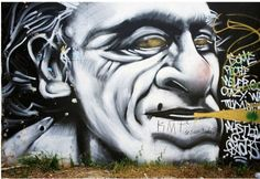 """Charles Bukowski graffiti in Austin, TX: """"Some people never go crazy, what truly horrible lives they must live."""" Photo by Mirgun Akyavas Austin Murals, Charles Bukowski Quotes, Ugly Men, Sad Movies, Dangerous Minds, American Poets, Street Art Graffiti, Banksy, Urban Art"""