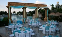 BATHS COLONNADE Located near the Cove and Cove Beach, the grand columns and poolside view of the Baths Colonnade make for an ideal outdoor venue. Uplit at night, this is an intimate and romantic...