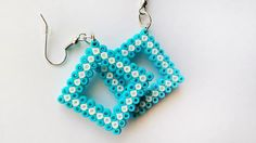 Baby Blue Diamond-Shaped Earrings - Blue & White Pixel Geometric Dangle Earrings, Hook or Clip-On, Mini Hama Beads, Mini Perler Beads