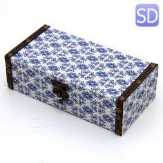 Baú estampa azulejo português pequeno