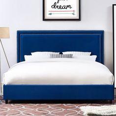 Lowest price on TOV Furniture Reed Navy Velvet Bed in Full Shop today! Velvet Upholstered Bed, Velvet Headboard, Velvet Bed, Upholstered Bed Frame, Upholstered Platform Bed, Blue Velvet, Blue Headboard, King Beds, Queen Beds