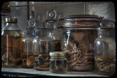 Dark hospital specimen jars  http://steampunkincornwall.blogspot.co.uk/