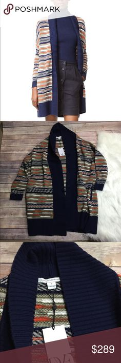DVF cardigan Nwt gorgeous blend of blues oranges greens. Pockets on side Diane Von Furstenberg Sweaters Cardigans