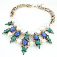 Royal Princess Style Rhinestone Pearl Inlaid Short Necklace