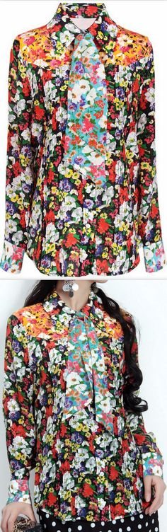 Floral Print Silk Blouse with Tie