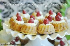White Chocolate and Raspberry Mini Bundt Cakes  Recipe and Instructions