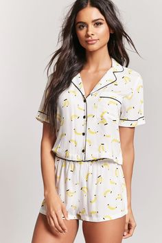 Shoptagr banana print pajama top & shorts by forever 21 Cute Sleepwear, Loungewear Set, Lingerie Sleepwear, Nightwear, Cute Pjs, Cute Pajamas, Pajamas Women, Cute Lounge Outfits, Cute Outfits