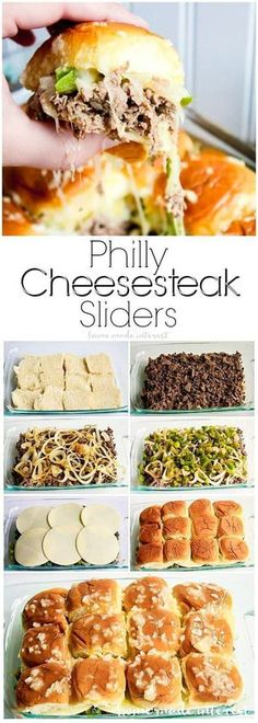 These Philly Cheesesteak sliders are a great football party food idea. They are great for feeding a crowd! Make everyone happy at your next game day party with this easy slider recipe! Philly Cheesesteak Sliders are a football appetizer recipe that everyo Think Food, Love Food, Great Food, Philly Cheese Steak Sliders, Chicken Sliders, Philly Cheese Steak Seasoning, Cheese Burger, Philly Cheese Steak Sandwich Recipe Easy, Oven Sliders