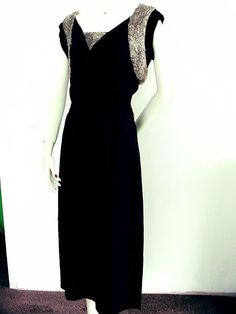 Vintage 1940s 1950s Beaded Evening Dress 40s 50s Party Gown New Look Black n Silver