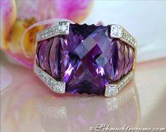 Stattlicher Amethyst Ring mit Brillanten » Juwelier Schmucktraeume.com