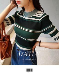 ◆ポイント10%還元◆マルチボーダーハーフスリーブニットTシャツ・全4色トップス・カットソーニット・セーター|レディースファッション通販 DHOLICディーホリック [ファストファッション 水着 ワンピース] Mens Striped Sweater, Striped Knit, Knit Fashion, Sport Casual, Winter Dresses, Costume Design, Pull, Well Dressed, Style Guides