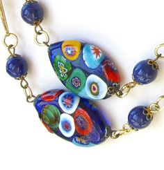 Vintage Millefiori Millefiore Beads Necklace #GotVintage by BuyVintageJewelry