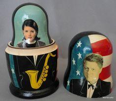 Russian Wooden Nesting Dolls Bill Clinton & His Ladies Saxophone Hillary Monica