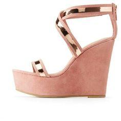 8da4b58c905 Bamboo Metallic X Two-Piece Wedge Sandals  Women Fashion  Shoe  Style