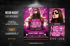 Neon Night - Flyer by VectorMedia on @creativemarket