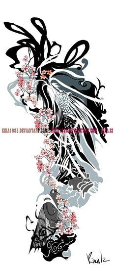 Cherry blossom koi dragon-commission by kika1983.deviantart.com on @deviantART