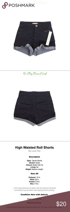 HIGH WAISTED ROLL SHORTS DARK DENIM BLUE JUNIORS New with defects- the zipper has been repaired, now good as new. Please look through photos to find detailed description, thank you. B1 Fire Los Angeles Shorts Jean Shorts