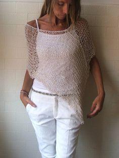 avorio poncio donne estate bianco sciolto boho poncho di ileaiye