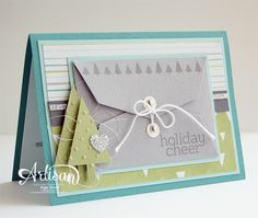 SU! Gift Card Thinlets, Tree Punch, All is Calm DSP, Cheerful Tags stamp set (small trees on envelope and sentiment) - Inge Groot