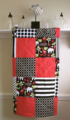 Baby Quilt     Zoology Baby Blanket for Boy or by FernLeslieBaby, $98.00