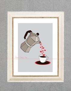 Love Life Art Print Kitchen Living Room Interior Printing for Wall Home Decor with Cuban Coffee Maker pouring Hearts humorous style Pot. $14.99, via Etsy.