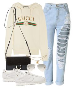 """Untitled #3171"" by camilae97 ❤ liked on Polyvore featuring Gucci, Chloé, NIKE and Ray-Ban"