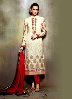Impressive Embroidered Work Georgette Churidar Designer Suit