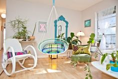 Inspired papasan chair in Living Room Eclectic with Plant Stand next to Indoor Gardening alongside Indoor Hammock and Hanging Chair Container Home Designs, Container Houses, Hanging Papasan Chair, Indoor Hammock, Eclectic Living Room, Colorful Chairs, Tiny House Living, Living Room Paint, Design Case