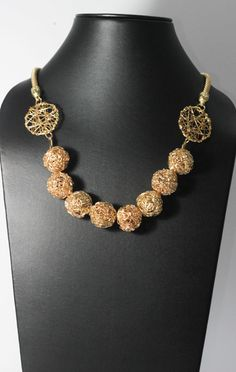 Matinee Mesh Golden Choker Necklace, SKU: NK0009, Type: Choker, Color: Golden, MRP: Rs.990/- (14.84$), exclusive of shipping charges, Shop at: www.krasakart.com