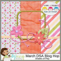 free digital scrapbooking mini kit, spring inspired, bright pink and orange, Triple J Designs: March DSA Blog Hop
