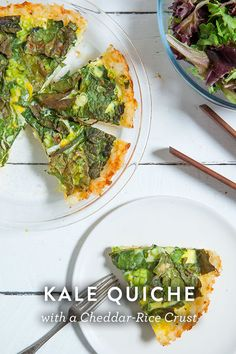 Kale Quiche with a Cheddar-Rice Crust. It's gluten-free so a healthy alternative, only takes an hour to make which means it's the perfect recipe for breakfast or dinner or brunch.
