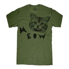 Meow Cat Tee Men's Olive