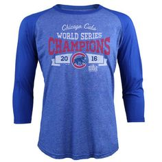 Chicago Cubs Majestic Threads 2016 World Series Champions Mountain Top 3/4-Sleeve Raglan T-Shirt - Royal