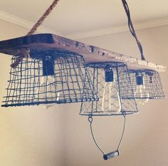 Rustic Antique Wooden Light Fixture with Edison Bulbs on Etsy, $175.00