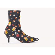 NA-KD Shoes Kitten Heel Sock Boot (69 CHF) ❤ liked on Polyvore featuring shoes, boots, yellow flower, pointed toe shoes, pointed toe kitten heel shoes, pointy toe shoes, stretch shoes and stretch boots