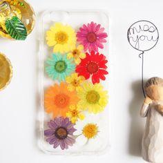 FREE SHIPPING - The Rainbow Pressed flower bumper phone case (レインボー押し花バンパー電話ケース)