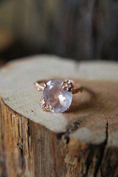 Vintage Rose Quartz Ring | Old Hollywood