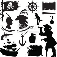Pirate Silhouettes including ship, treasure chest, parrot, rum, hook, map, captain's wheel, anchor, and weapons. Note: white skull and crossbones on flag and compass rose on tattered scroll map are...
