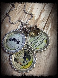 "Positive Quote ""Seek"" Theme Bottle Cap Charm Necklace by bluedivacreations on Etsy"