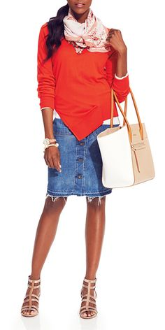 30 Days of Denim - Day 2: Jean Skirt from #InStyle