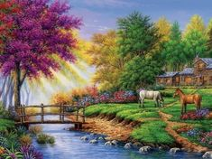 Landscape Art, Landscape Paintings, Image Fruit, Kinkade Paintings, Images Vintage, Image Nature, Thomas Kinkade, Peaceful Places, Nature Pictures
