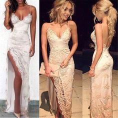 Charming Lace Sexy Spaghetti Straps Mermaid Side Slit Prom Dress, Evening Dress, PD0325